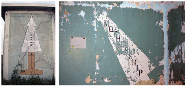 Two murals in muted colors are beginning to deteriorate.