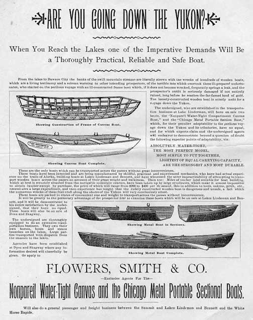 Historic advertisement for boats with headline