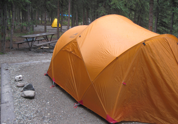 Orange tent in Riley Creek Campground