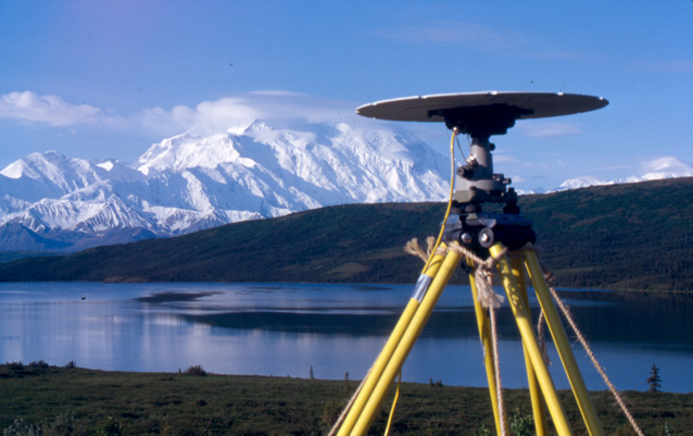 Temporary GPS station in front of Wonder Lake and Denali.