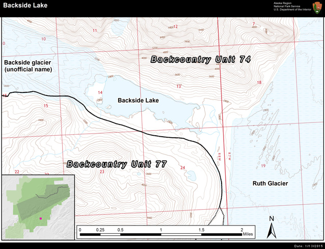 a map that shows backside lake is found in backcountry unit 74 near the Ruth Glacier