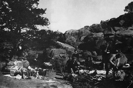 Main lumbermen camp on the Esplanade in 1898 at Grand Canyon National Park