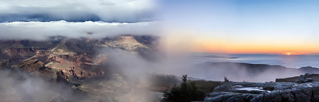 Photo of Grand Canyon and Acadia national parks in fog.