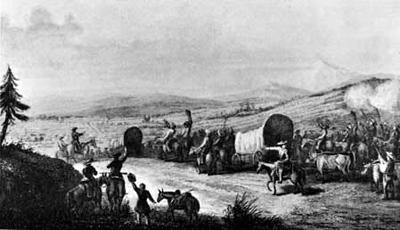 Illustration of a Santa Fe Trail caravan