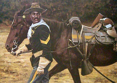 Painting of a buffalo soldier with a horse