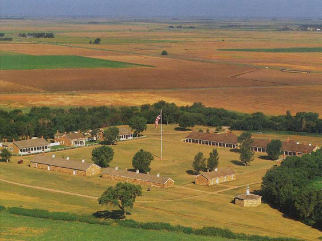 Aerial view of restored buildings at Fort Larned National Historical Site