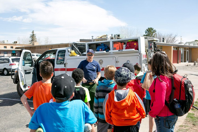 Bandelier's Engine Crew introduces students to the fire engine.