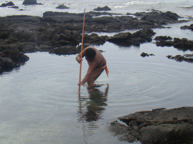 man using a pole to fish in a tidal pool