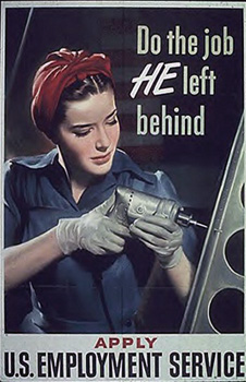 color poster of woman with drill and red head wrap
