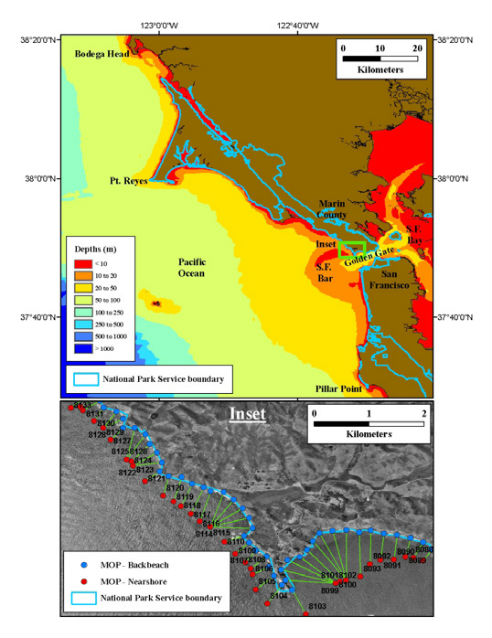 figure of coastline and bathymetry for north-central california