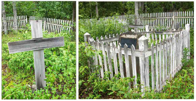 Two images of grave markers: a wooden cross, and a headstone surrounded by a white picket fence.