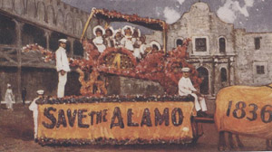 "Postcard depicting a float in the ""Battle of Flowers"" parade"