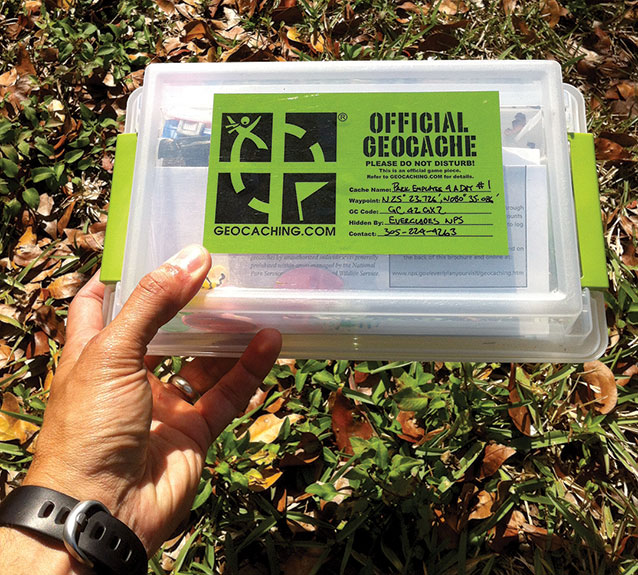Weatherproof plastic box that serves as a geocache (Credit: NPS Photo)