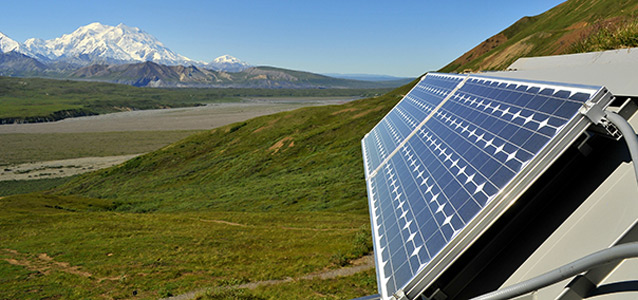 a solar panel in the tundra