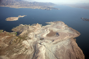 Far view of Lake Mead with blue water and clear sky