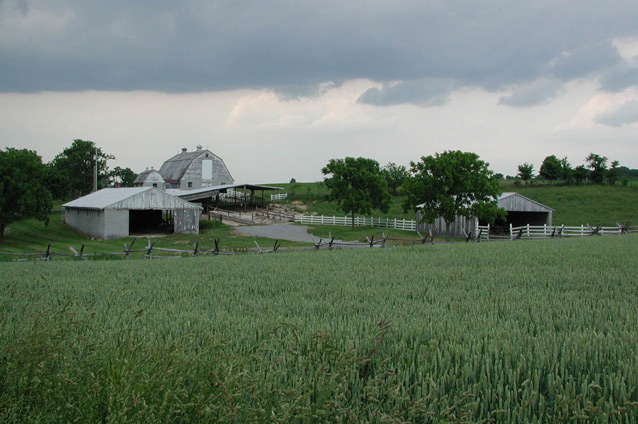 A barn and other farm buildings stand beyond an agricultural field, under a cloudy sky.