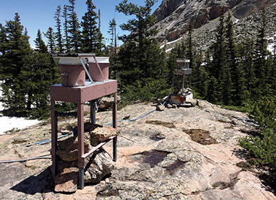 Wet deposition monitoring collectors at Loch Vale watershed, Rocky Mountain National Park