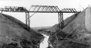 Black and white photo of a high bridge with a train crossing