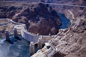 Sky view of the Hoover Dam Bypass Bridge
