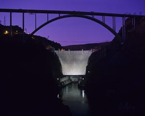 Night scene of Hover Dam overpass