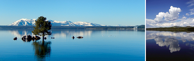 Photos of Carrington Island (left) and South Arm (right) of Yellowstone Lake