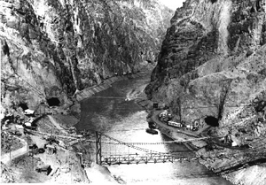 Black and white photo of Hoover Dam's tunnel
