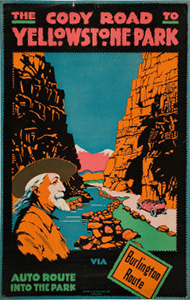 Photo of a colorful ad with a ranger, river and canyons.