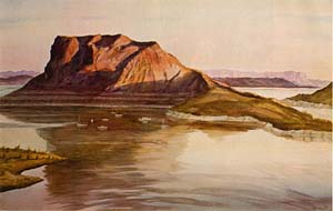 A water color painting of Elephant Butte Lake with a large mountain