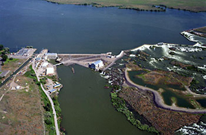 Sky view of Minidoka Powerplant and Minidoka Dam surrounded by water