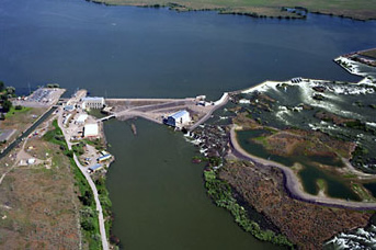 Sky view of Minidoka Dam and Minidoka Powerplant surrounded by water