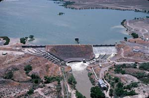 Sky view of Lahontan Dam surrounded by dry land and water