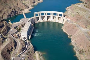 Sky view of Parker Dam surrounded by water