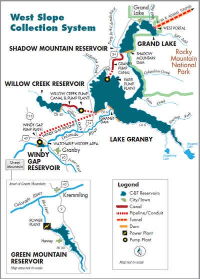 A drawing of a map with reservoirs lakes and trails