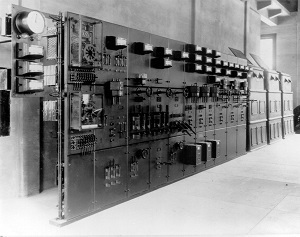 Black and white photo of a control panel