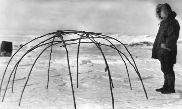 A frame of a caribou tent.
