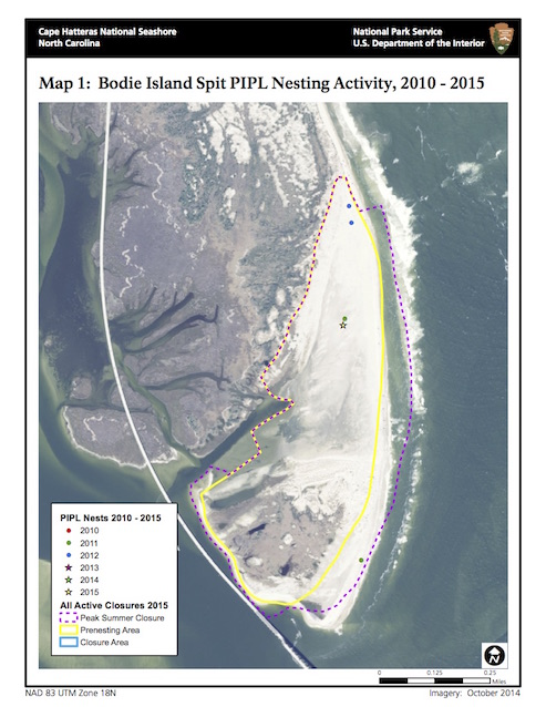 Map 1: Bodie Island Spit PIPL Nesting Activity, 2010-2015