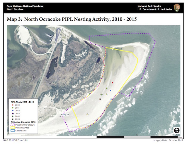 Map 3: North Ocracoke PIPL Nesting Activity, 2010-2015