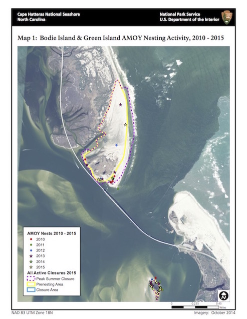 Map 1: Bodie Island Sea Turtle Nests, 2015