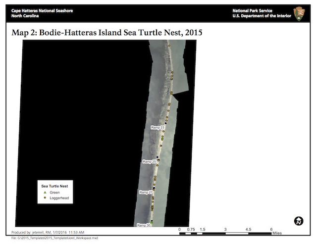 Map 2: Bodie-Hatteras Island Sea Turtle Nests, 2015