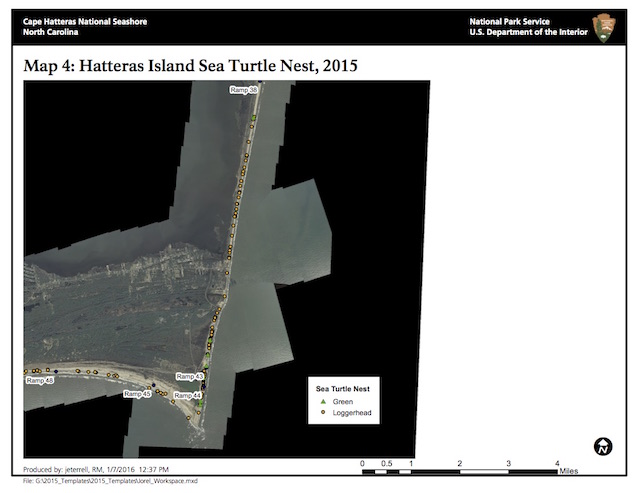 Map 4: Hatteras Island Sea Turtle Nests, 2015