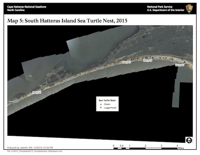 Map 5: South Hatteras Island Sea Turtle Nests, 2015