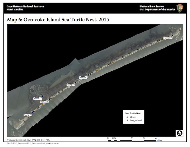 Map 6: Ocracoke Island Sea Turtle Nests, 2015