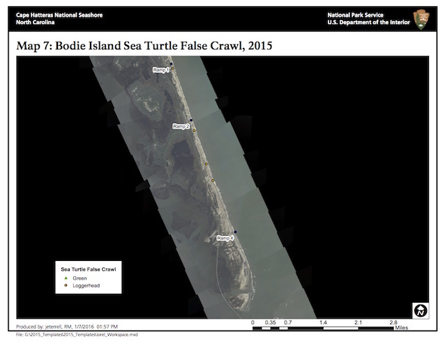 Map 7: Bodie Island Sea Turtle False Crawls, 2015