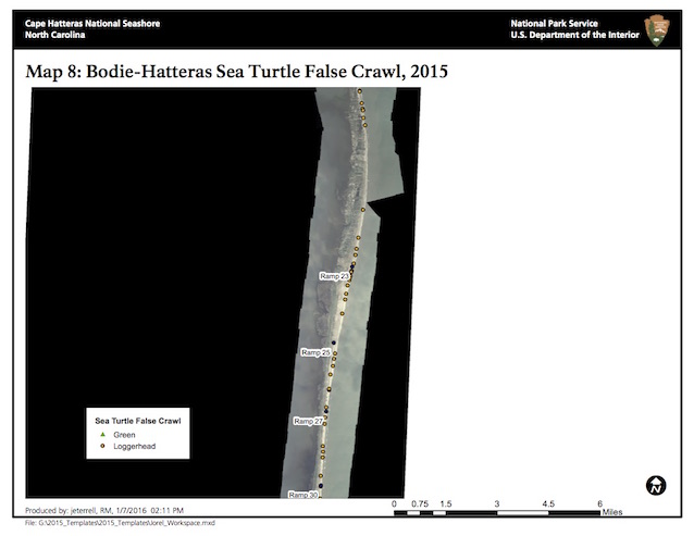 Map 8: Bodie-Hatteras Island Sea Turtle False Crawls, 2015