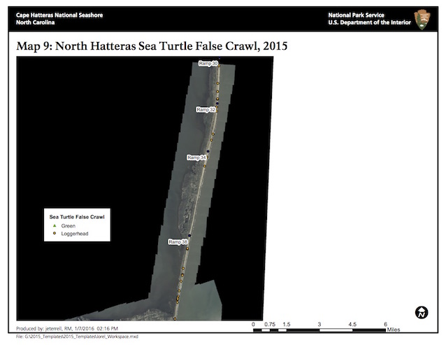 Map 9: North Hatteras Island Sea Turtle False Crawls, 2015