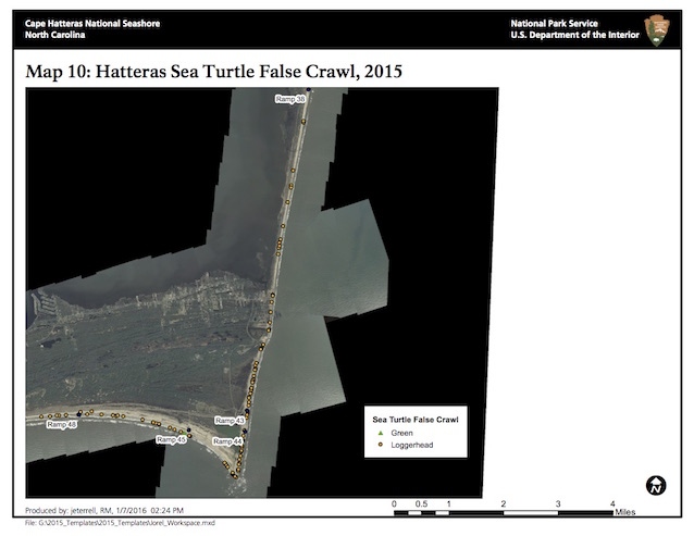 Map 10: Hatteras Island Sea Turtle False Crawls, 2015