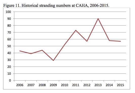 Figure 11. Historical stranding numbers at CAHA, 2006-2015.