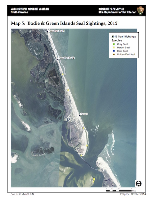 Map 5: Bodie Island and Green Island Seal Sightings, 2015
