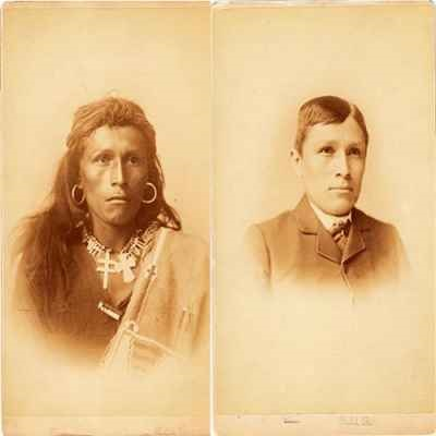 Two photos in one showing the transition of a Native American man turning into an ideal American.