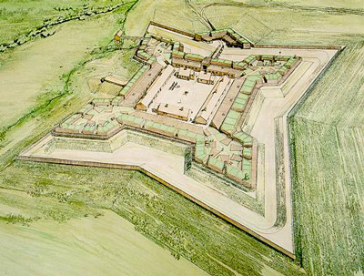 A colored sketch depicts the reconstruction of the four-cornered fort.